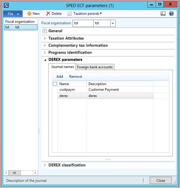 Sped ECF - Derex parameters Journal names