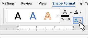WordArts teksta efektu poga