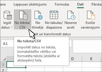 Teksta/CSV atlasīšana cilnē dati