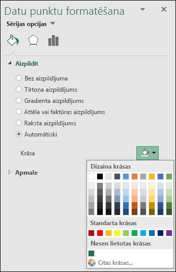Excel kartes diagrammas krāsu kategorijas diagrammas opciju