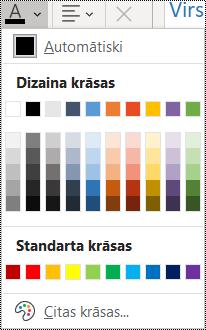 Ekrānuzņēmums ar fonta krāsas opciju izvēlnē Sākums.