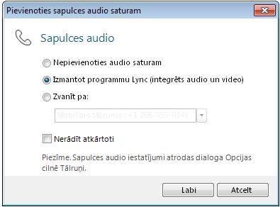 Dialoglodziņš Pievienoties sapulces audio saturam