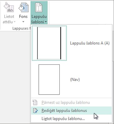Ekrānuzņēmums, kurā redzama nolaižamā izvēlne Lappušu šablonu rediģēšana programmā Publisher.