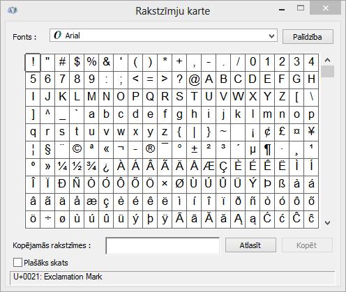 Programmas Windows rakstzīmju karte