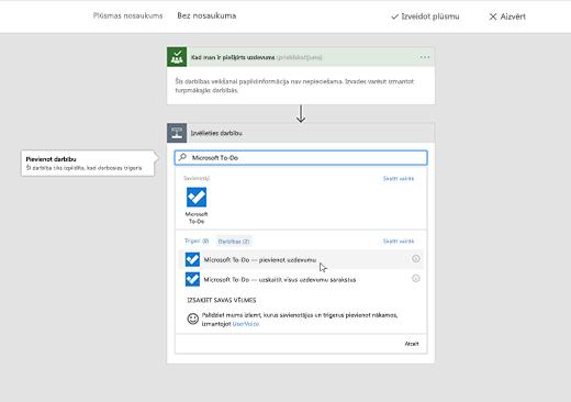 Ekrānuzņēmums, kurā redzama atlasīta Microsoft To-Do