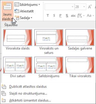 Jaunu slaidu izkārtojumi programmā PowerPoint.