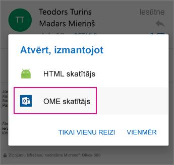 OME skatītājs ar programmu Outlook darbam ar Android 2