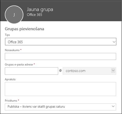 Jaunas Office365 grupas, adresātu saraksta vai drošības grupas izveide