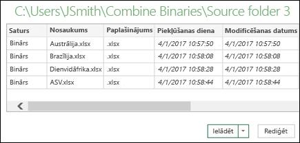 Binārā faila apvienošanas dialoglodziņš ar apvienojamiem failiem
