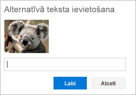 Pievienot alternatīvo tekstu attēliem programmā Outlook tīmeklī.