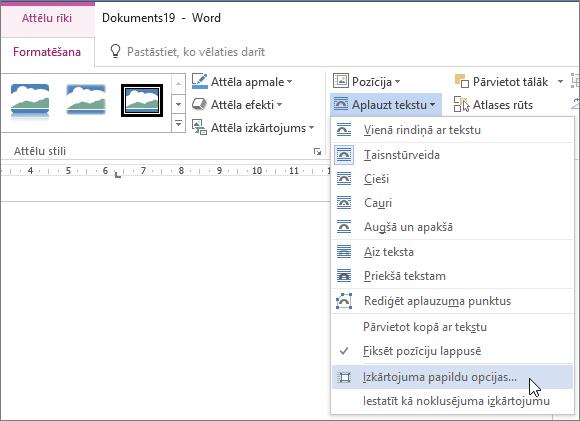 Papildu izkārtojuma opcijas izvēlnē aplauzt tekstu