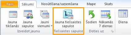 Outlook kalendāra poga Jauna tiešsaistes sapulce