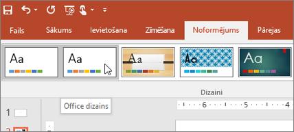Ekrānuzņēmums ar Office dizainu cilnē Noformējums