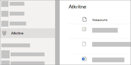 Ekrānuzņēmums, kurā redzama atkritnes cilne vietnē OneDrive.com.