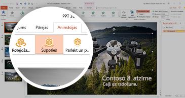 PowerPoint ekrānuzņēmums, kurā ir redzama cilne Animācijas ar atlasītu šūpošanās 3D animāciju.