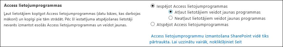 Ekrānuzņēmums, kurā attēloti Access programmas iestatījumi SharePoint administrēšanas centra lapā