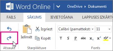 izmaiņu atcelšanas atsaukšana tīmekļa programmā word online
