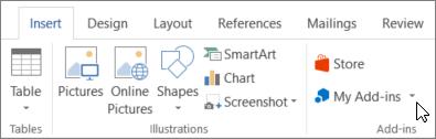 Ekrānuzņēmums, kurā sadaļas cilnes ievietošana Word lente ar kursoru, kas norāda uz manas pievienojumprogrammas atlasiet manas pievienojumprogrammas, lai piekļūtu pievienojumprogrammas programmai Word.