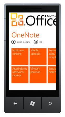 OneNote Mobile2010 centrmezglu