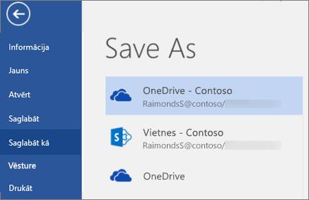 Word dokumenta saglabāšana pakalpojumā OneDrive darbam