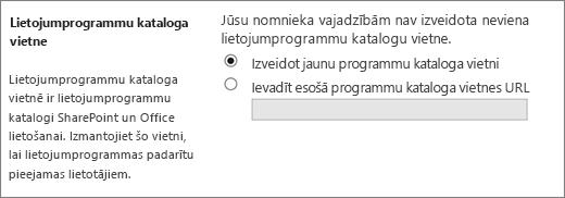Programmu kataloga vietnes dialogs ar izveidot jaunu lietojumprogrammu kataloga vietni atlasīta.