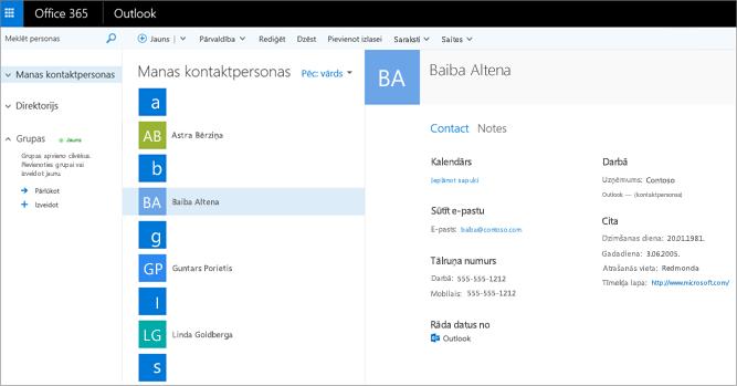 Pēc kontaktpersonu importēšanas Outlook tīmeklī tas būs redzams šādi.
