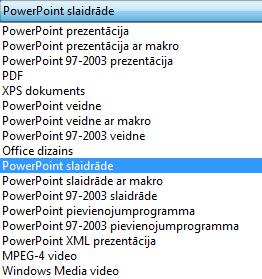 Prezentācijas saglabāšana PowerPoint slaidrādes formātā.