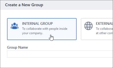 Ekrānuzņēmums, kurā redzams grupas izveides ekrāns pakalpojumā Yammer ar atlasītu iekšējo grupu.