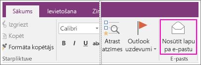 Ekrānuzņēmums, kurā parādīta poga E-pasta lapa programmā OneNote2016.