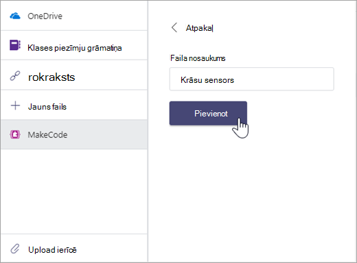 Dialoglodziņš MakeCode faila nosaukuma piešķiršanai un pievienošanai Microsoft Teams uzdevumam