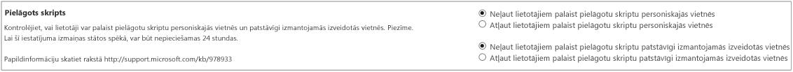 Pielāgota skripta sadaļa SharePoint administrēšanas centra iestatījumu lapā