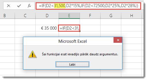 Excel ziņojums, ja pievienojat komatu vērtībai