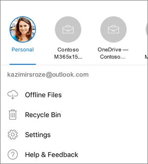 Ekrānuzņēmums, kurā parādīta pārslēgšanās starp kontiem programmā OneDrive operētājsistēmā iOS