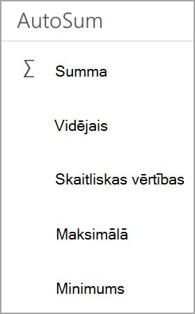 Android planšetdatora Excel summa