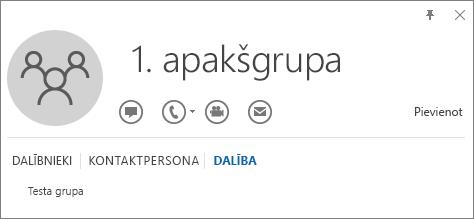 Outlook kontaktpersonas vizītkartes cilnes Dalība ekrānuzņēmums ar grupu, kuras nosaukums ir 1.apakšgrupa, norādot, ka 1.apakšgrupa ir grupas ar nosaukumu Testa grupa dalībnieks.