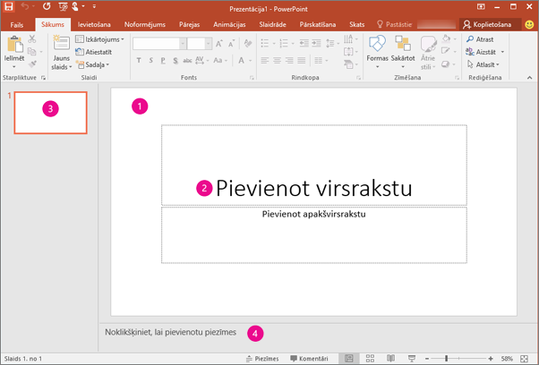 Shows PowerPoint workspace