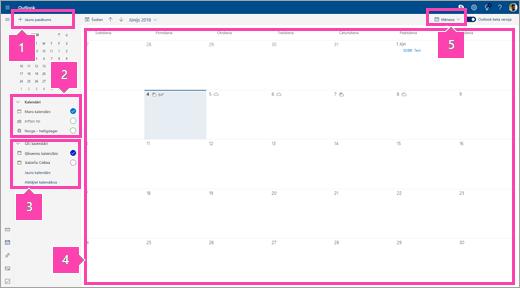 Ekrānuzņēmums, kurā attēlots interfeiss Kalendārs