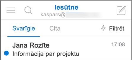 Attēls, kurā programma Outlook redzama iPhone tālrunī.
