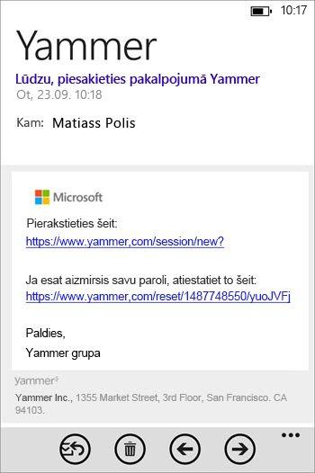 Reģistrēšanās e-pasta ziņojums