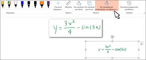 Vienādojums, kas rakstīts ar roku, un tas pats vienādojums, pārvērsts formatētā tekstā ar skaitļiem