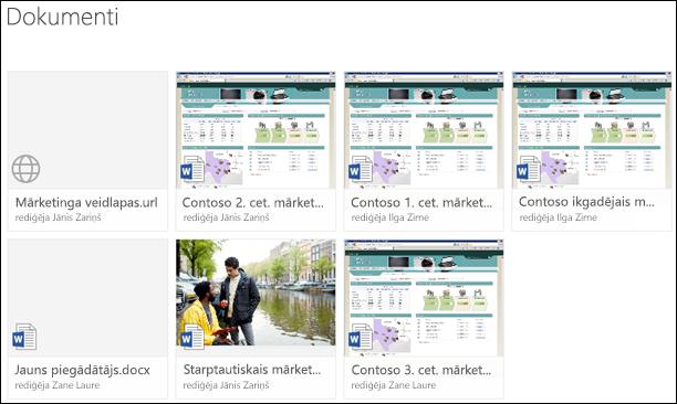 Saites pievienošana dokumentu bibliotēkai pakalpojumā Office 365
