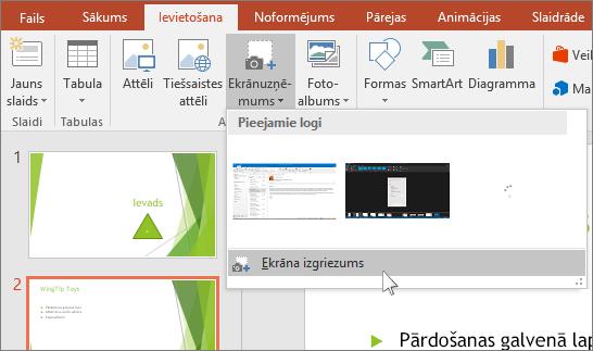 ekrāna izgriezuma nolaižamā izvēlne programmā PowerPoint