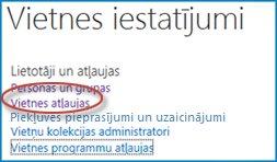 Ekrānuzņēmums, kurā attēlota opciju kopa vietnes iestatījumu lapā, kurā tiek rādīta saite Personas un grupas