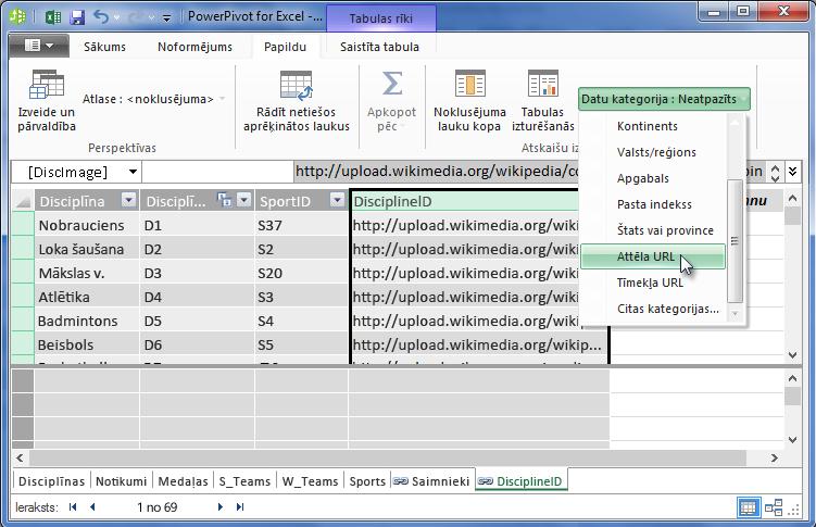 Datu kategorijas iestatīšana pievienojumprogrammā PowerPivot