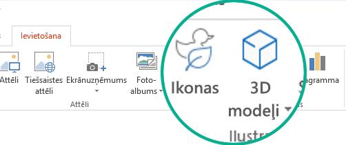 Pogas vienumam Ikonas un 3D modeļi Office 365 rīkjoslas lentes cilnē Ievietošana