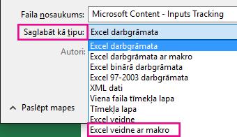 Izvēlieties Excel veidne ar makro.