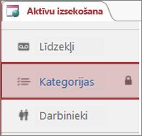 Bloķēšanas ikona, kas redzama bloķētā tabulā programmā Access