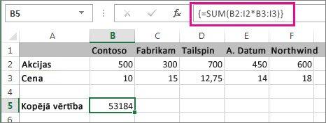 Tipiska masīva formula
