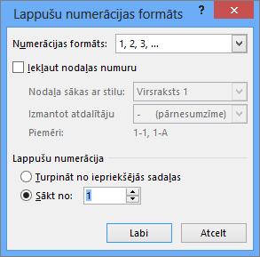 Tiek rādītas opcijas dialoglodziņā Lappušu numerācijas formāts.