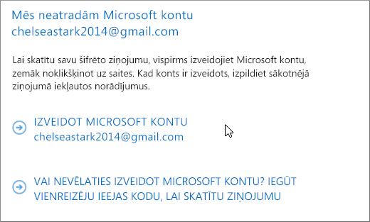 Microsoft konta izveide